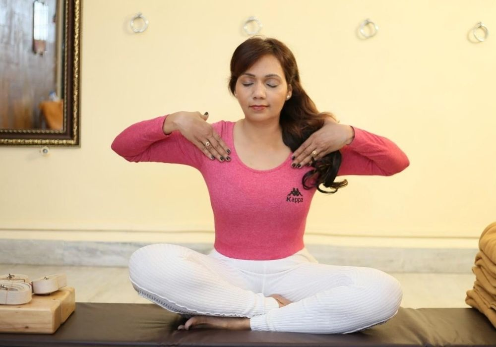 Yoga practices -  breathing exercise at shwet yoga classes in thane west